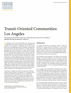 Transit-Oriented Communities Brief Cover Page